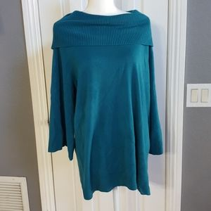 Sag Harbor size 1X green sweater very soft